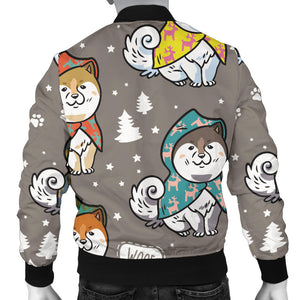 Cute Siberian Husky Raincoat Pattern Men Bomber Jacket