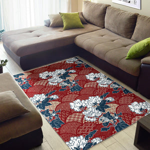 Red Theme Japanese Pattern Area Rug