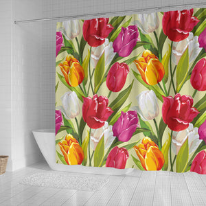 Colorful Tulip Pattern Shower Curtain Fulfilled In US