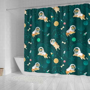 Corgi Astronaut Pattern Shower Curtain Fulfilled In US