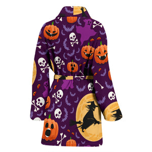 Halloween Pumpkin Witch Pattern Women Bathrobe