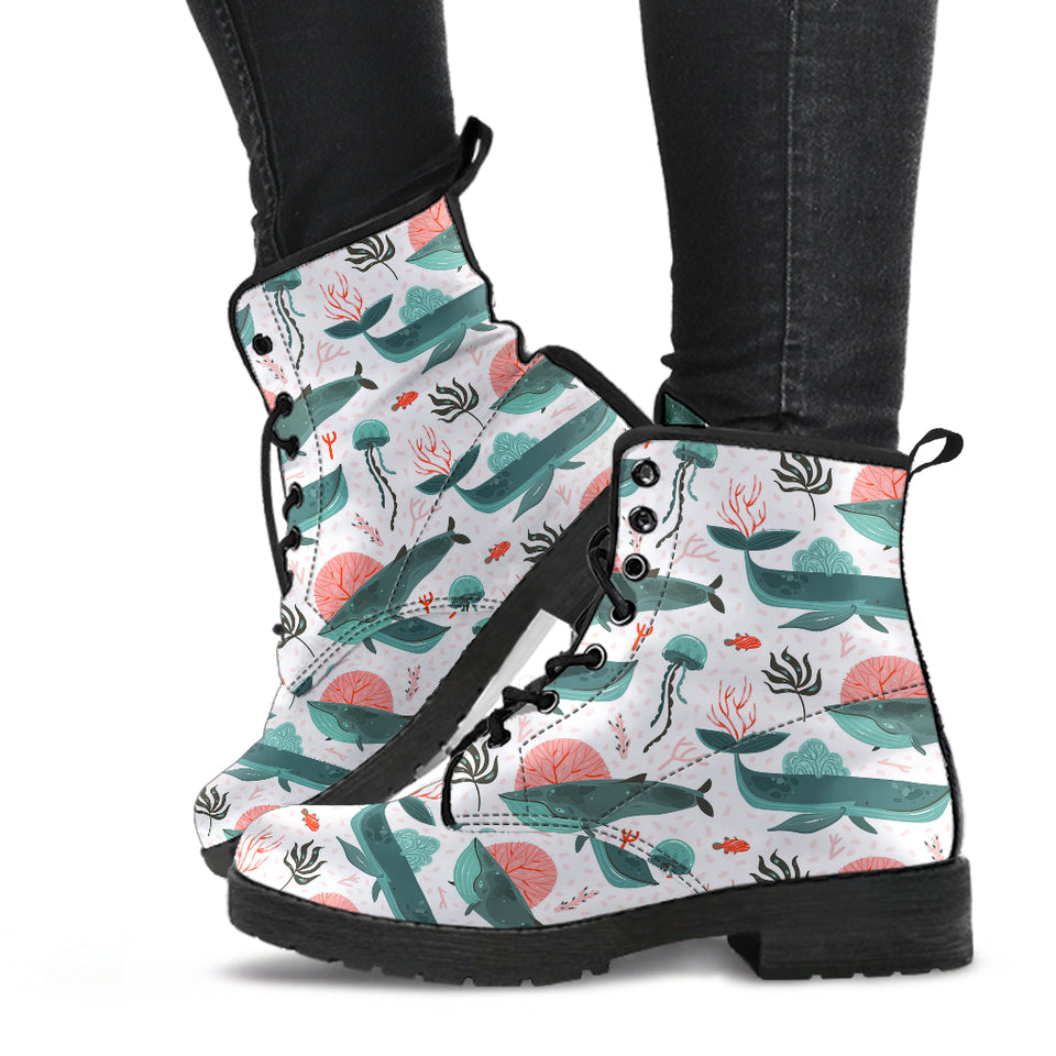 Whale Jelly Fish Pattern  Leather Boots