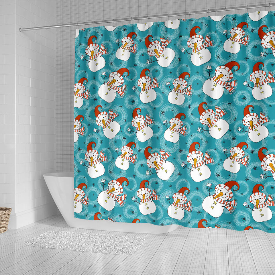Snowman Chirstmas Pattern Shower Curtain Fulfilled In US