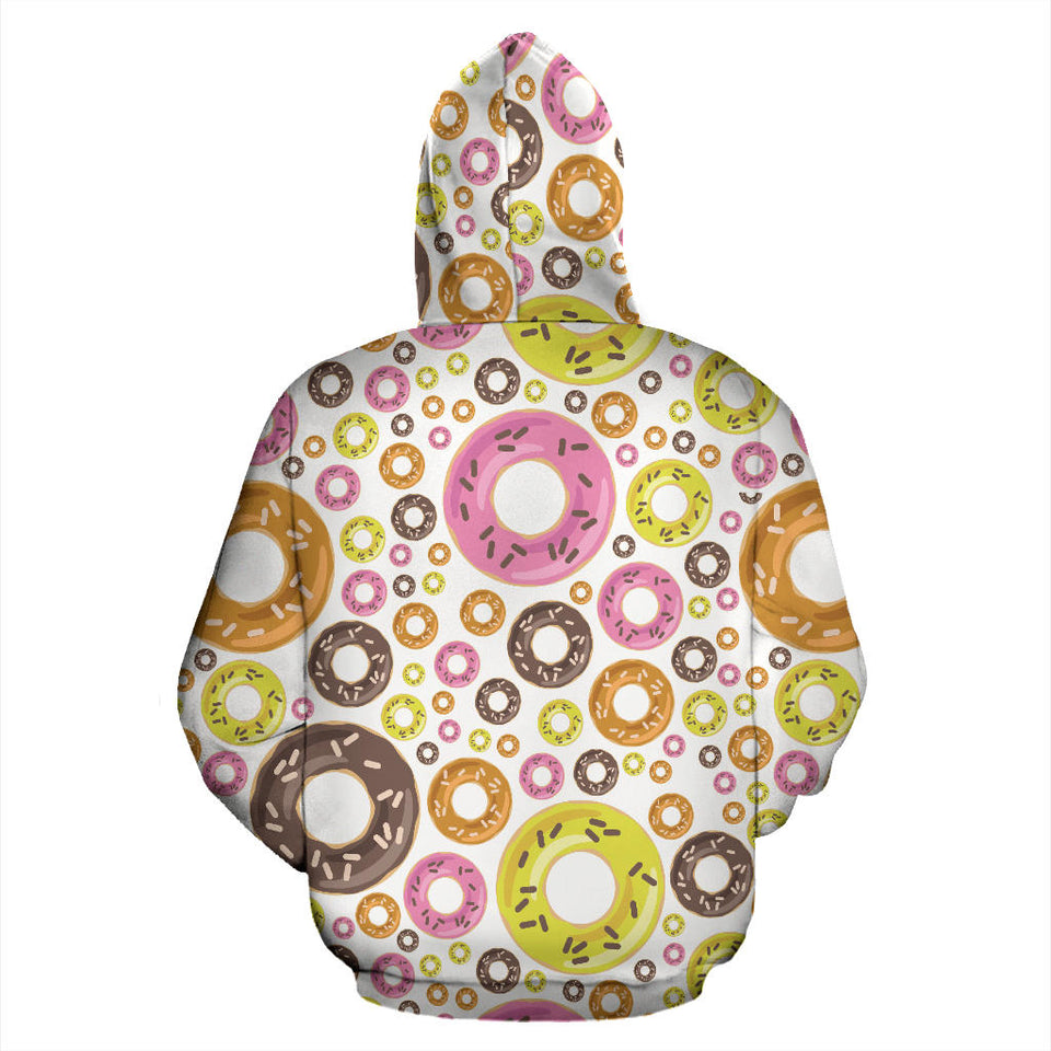 Colorful Donut Pattern Pullover Hoodie