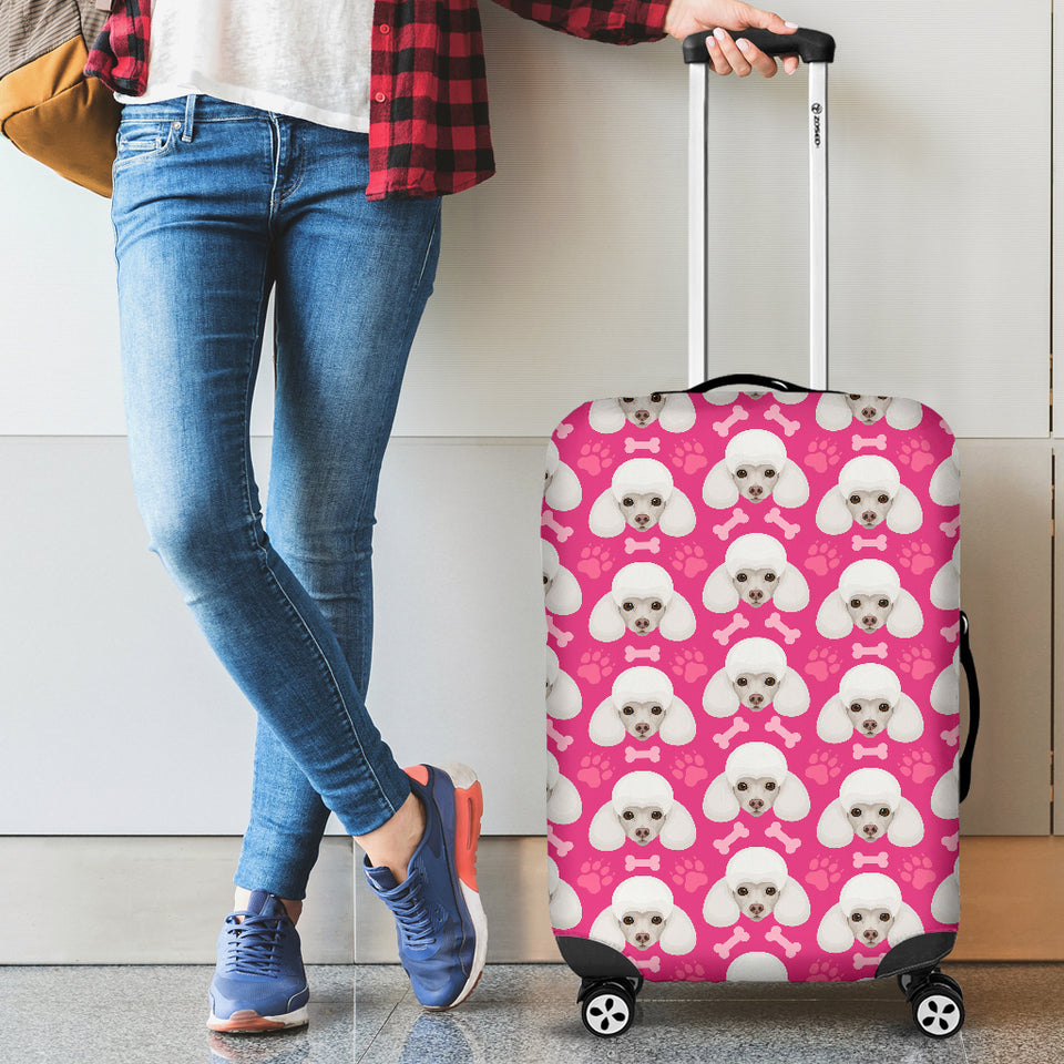 Poodle Pattern Pink background Luggage Covers