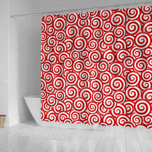 Red and White Candy Spiral Lollipops Pattern Shower Curtain Fulfilled In US