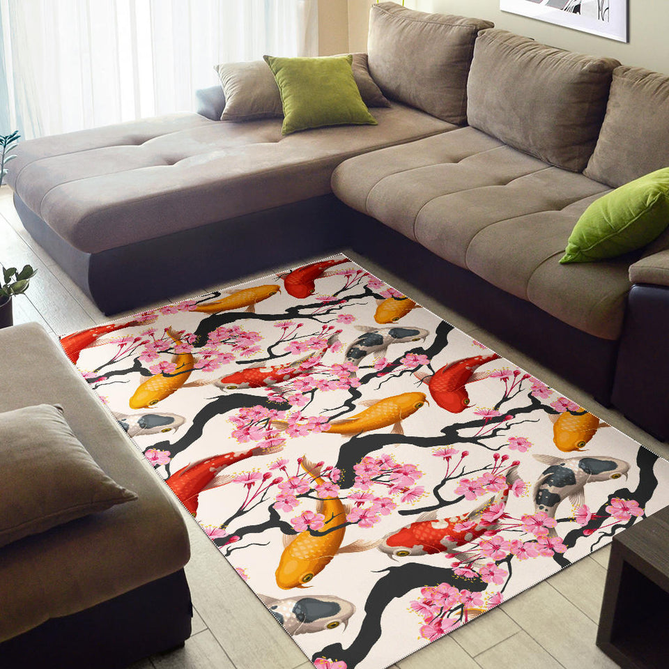 Colorful Koi Fish Carp Fish and Sakura Pattern Area Rug