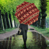 Elephant Red Pattern Ethnic Motifs Umbrella