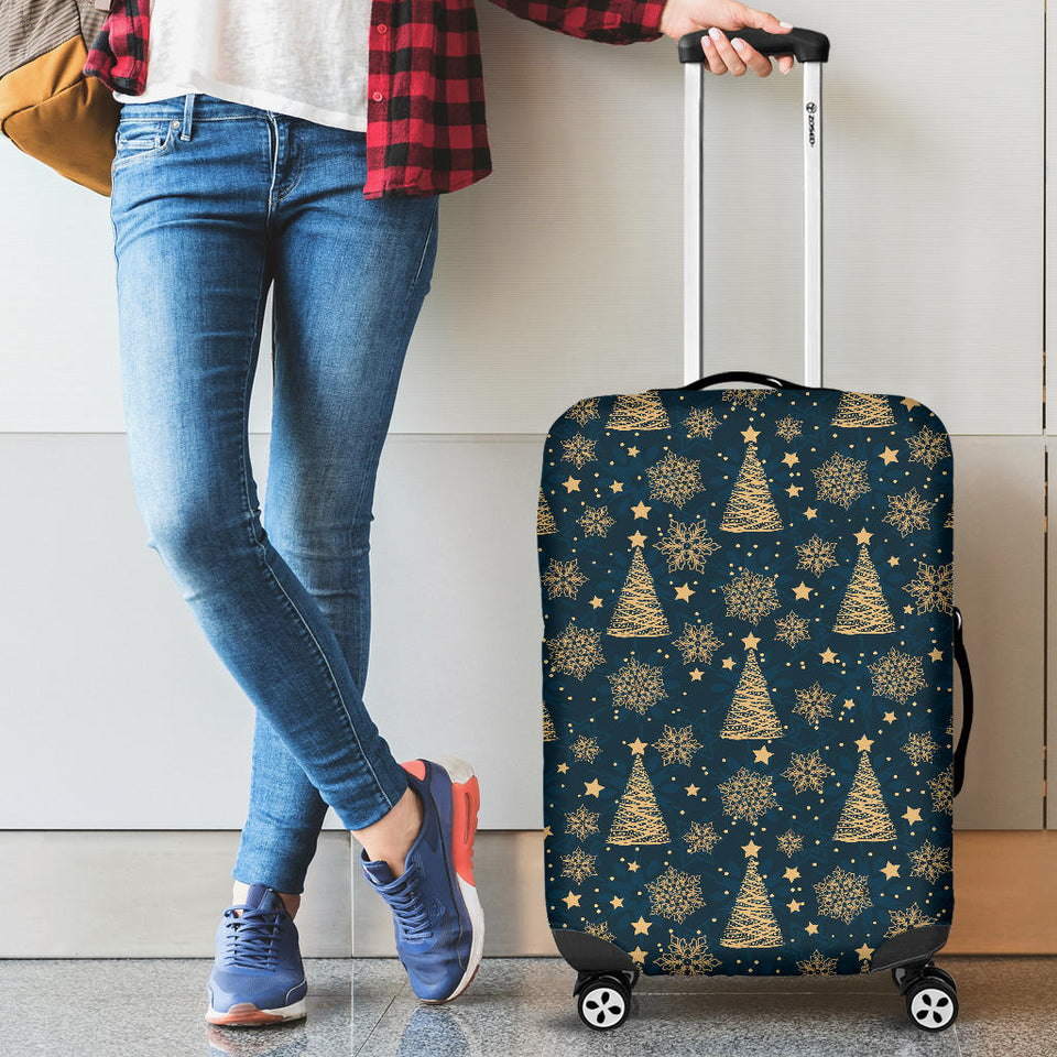 Gold Snowflake Chirstmas Pattern Luggage Covers