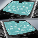Airplane Cloud Pattern Green Background Car Sun Shade