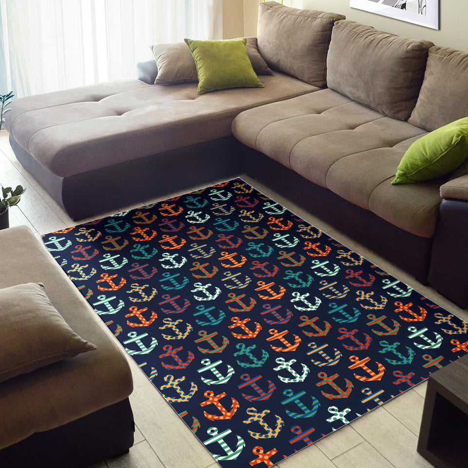 Colorful Anchor Dot Stripe Pattern Area Rug