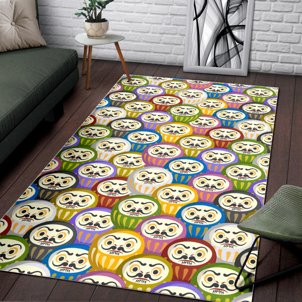 Colorful Daruma Pattern Area Rug