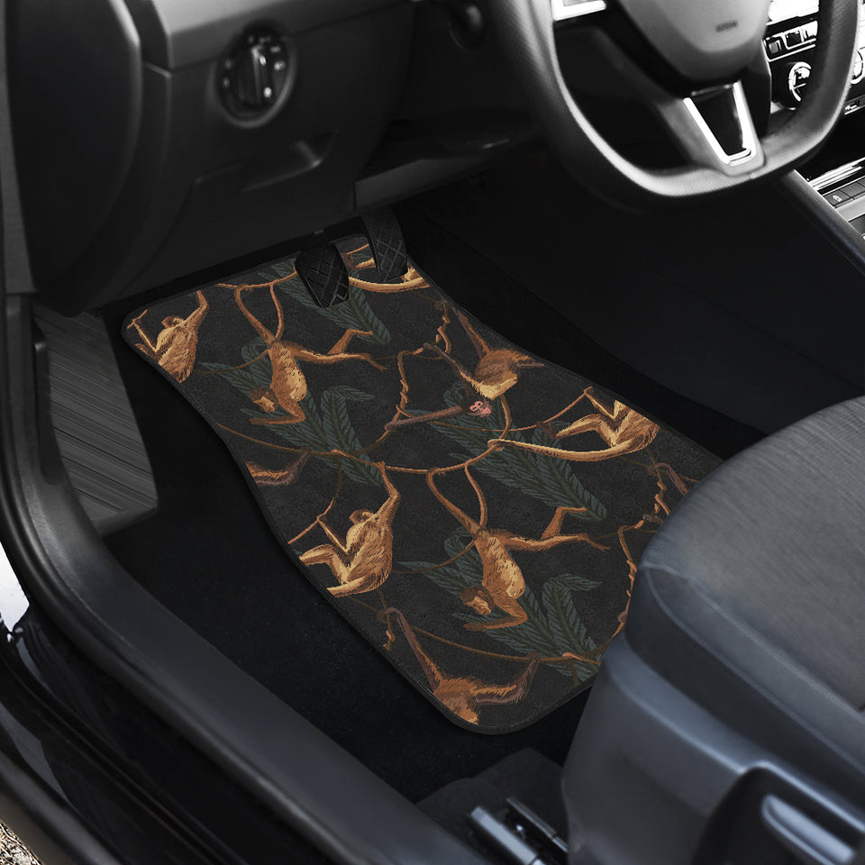 Monkey Pattern Black Background Front Car Mats