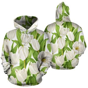 White Tulip Pattern Men Women Pullover Hoodie