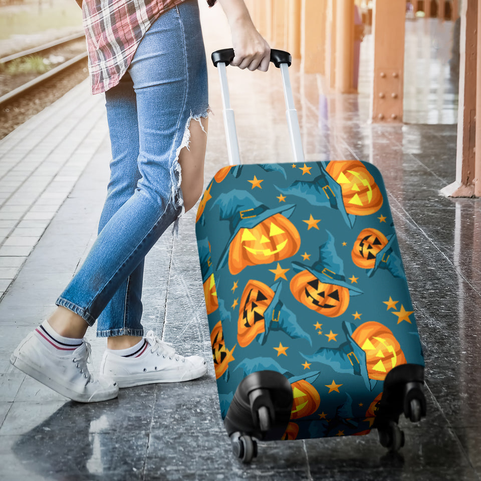 Halloween Pumpkin Witch Hat Pattern Luggage Covers