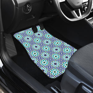 Blue Theme Arabic Morocco Pattern Front Car Mats