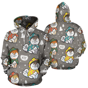 Cute Siberian Husky Raincoat Pattern Men Women Pullover Hoodie