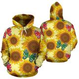 Sunflower Butterfly Pattern Men Women Pullover Hoodie
