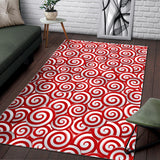 Red and White Candy Spiral Lollipops Pattern Area Rug