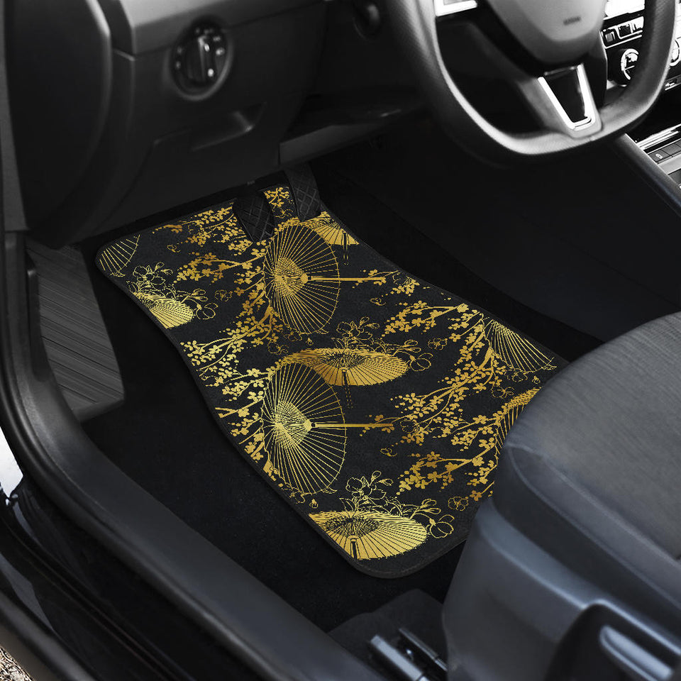 Gold Fan Flower Japanese Pattern Front Car Mats