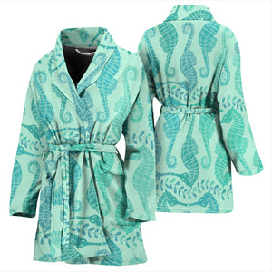 Seahorse Green Pattern Women Bathrobe
