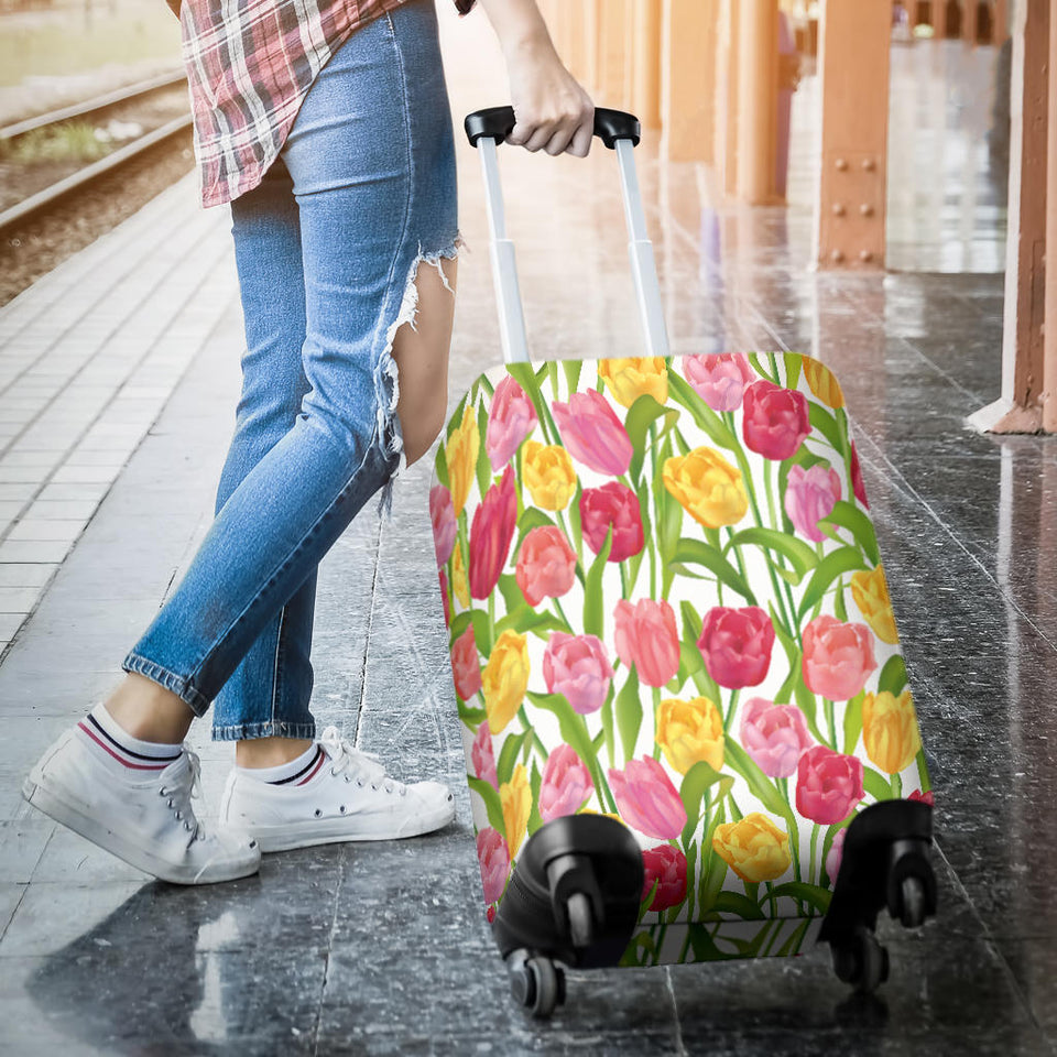 Pink Red Yellow Tulip Pattern Luggage Covers