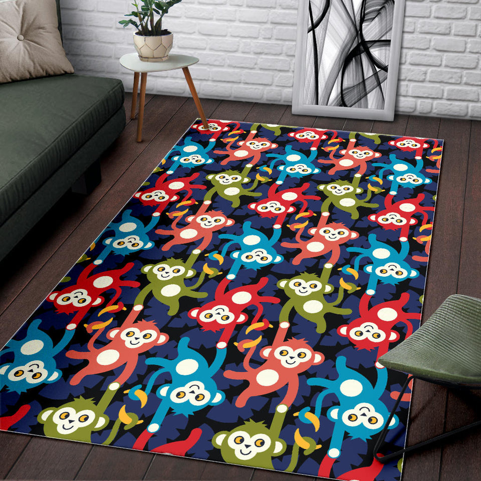 Colorful Monkey Pattern Area Rug