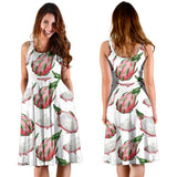 Dragon Fruit Pattern Sleeveless Midi Dress