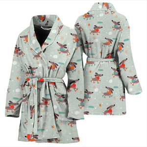 Dachshund Skating Pattern Women Bathrobe