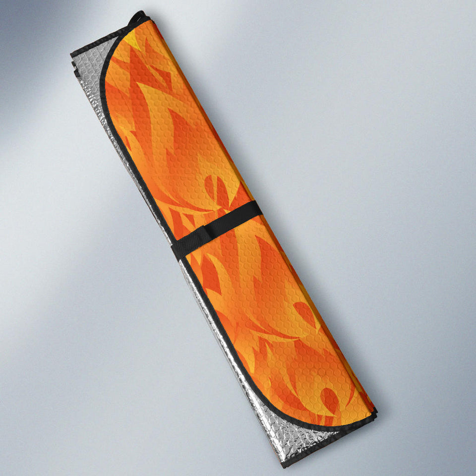 Red Flame Fire Pattern Car Sun Shade