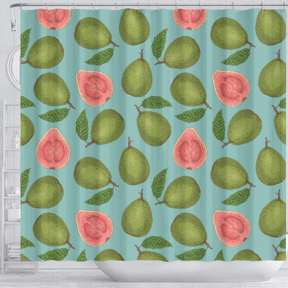 Guava Pattern Green Background Shower Curtain Fulfilled In US