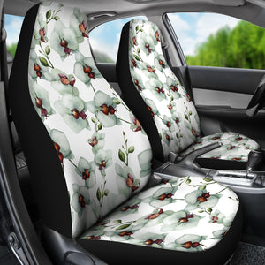 White Orchid Pattern Universal Fit Car Seat Covers