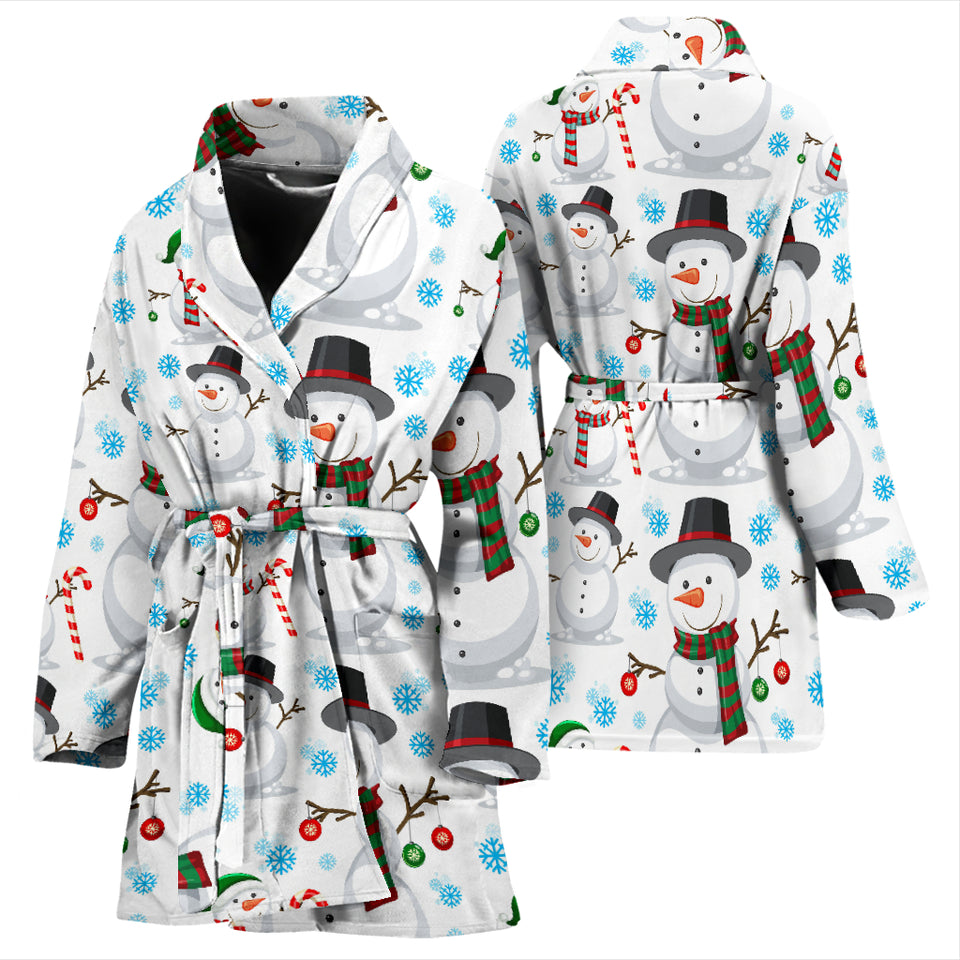 Snowman Pattern Background Women Bathrobe