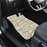 Dragonfly Flower Pattern Front Car Mats