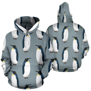Penguin Pattern Theme Pullover Hoodie