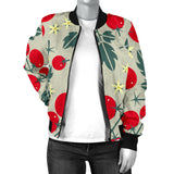 Hand Drawn Tomato Pattern Women Bomber Jacket