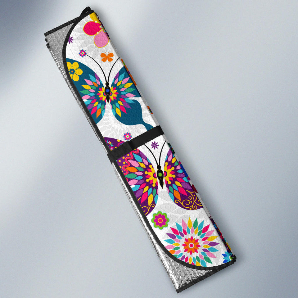 Colorful Butterfly Flower Pattern Car Sun Shade
