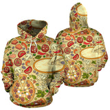 Pizza Pattern Background Pullover Hoodie