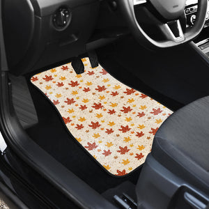 Red and Orange Maple Leaves Pattern Front Car Mats
