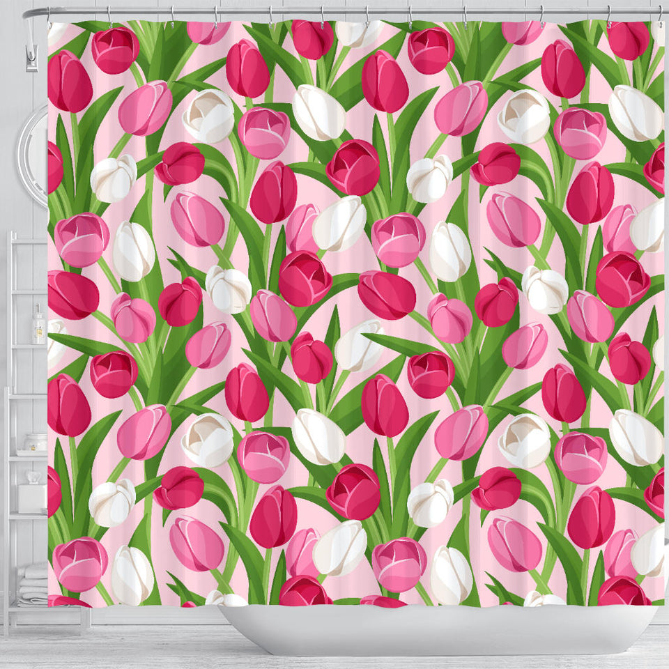 Pink White Tulip Pattern Shower Curtain Fulfilled In US