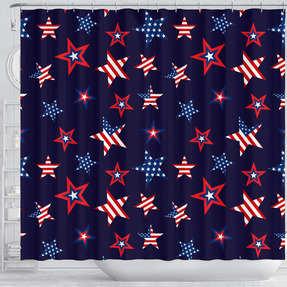 USA Star Pattern Theme Shower Curtain Fulfilled In US