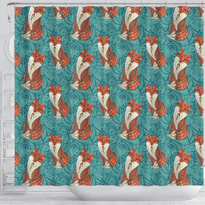 Fox Tribal Pattern Background Shower Curtain Fulfilled In US