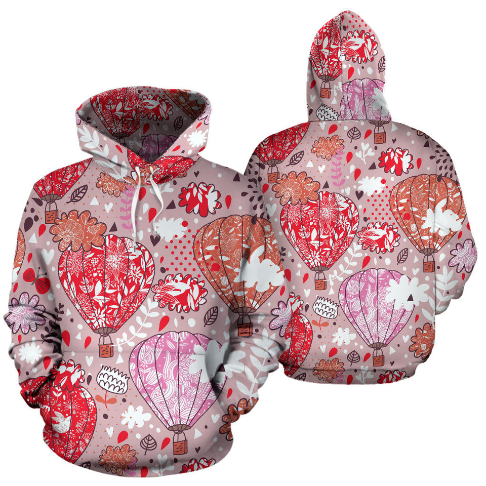 Red Pink Hot Air Balloon Pattern Men Women Pullover Hoodie
