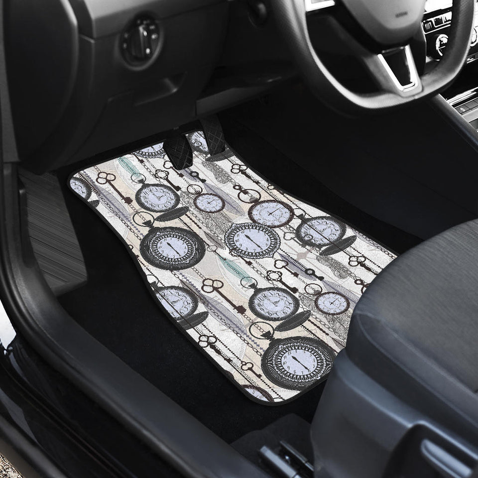 Vintage Clock Pattern Front Car Mats
