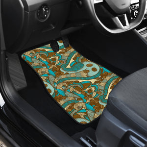 Coffee Bean Pattern Graphic Ornate Front Car Mats