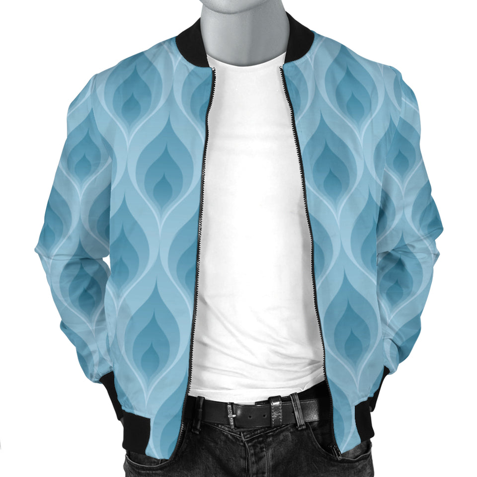 Blue Flame Fire Pattern Men Bomber Jacket