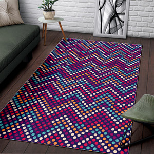 Zigzag Chevron Pokka Dot Aboriginal Pattern Area Rug