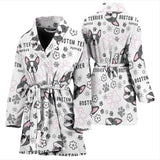Boston Terrier Pattern Women Bathrobe