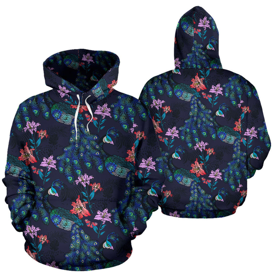 Peacock Feather Pattern Men Women Pullover Hoodie