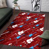 Electical Guitar Red Pattern Area Rug